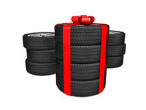 Gift set four tyres. 3d rendering Royalty Free Stock Photos