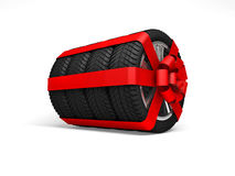Gift set four tyres. 3d rendering Stock Photo