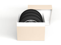 Gift set four tyres. 3d rendering Stock Photos