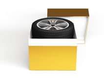 Gift set four tyres. 3d rendering Stock Image