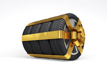 Gift set four tyres. 3d rendering Stock Images