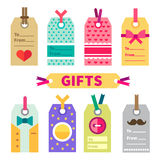 Gift set of labels and post card. In flat style . Design element. Vector flat  illustration Royalty Free Stock Image