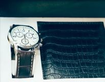 Gift set for men watch and purse Stock Photography
