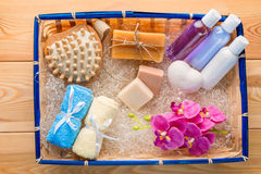 Gift Set for spa care in a straw basket Royalty Free Stock Photography