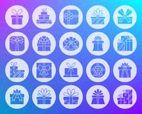 Gift Shape Carved Flat Icons Vector Set Stock Photos