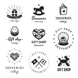 Gift Shop And Souvenirs Logo Vintage Vector Set. Hipster And Retro Style. Stock Photos