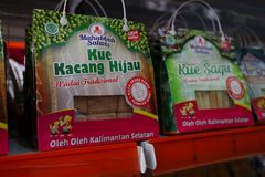 Gift shop in Banjarmasin, with a variety of local specialty products royalty free stock photo
