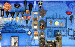 Gift shop in Chefchaouen, Marocco. Colorful moroccan handmade so Royalty Free Stock Photo