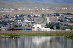 Gift shop in El Calafate, Argentina. City of El Calafate view from the Laguna Nimez, Patagonia, Argentina. El Calafate is situated in the southern border of Lake royalty free stock photography