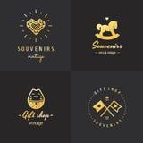Gift shop gold logo hipster vintage vector set. Part one. Gift shop and souvenirs gold logo vintage vector set. Hipster and retro style. Part one royalty free illustration