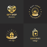 Gift shop gold logo hipster vintage vector set. Part two. Gift shop and souvenirs gold logo vintage vector set. Hipster and retro style. Part two royalty free illustration