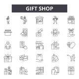 Gift shop line icons for web and mobile design. Editable stroke signs. Gift shop  outline concept illustrations royalty free illustration