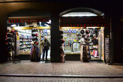 Gift shop at night, Brussels. Stock Image