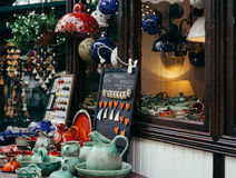 Gift shop showcase. Souvenirs shop showcase in Sopot, Poland. Ceramic gifts Royalty Free Stock Images