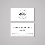 Gift shop and souvenirs business card design concept. Gift shop logo with flags with hearts. Vintage, hipster and retro style. Royalty Free Stock Photography