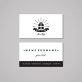 Gift shop and souvenirs business card design concept. Gift shop logo with gift box, ribbon and rays. Vintage, hipster and retro st Royalty Free Stock Photo