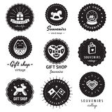 Gift shop and souvenirs logo vintage vector set. Hipster and retro style. Perfect for your business design. Badges logos Royalty Free Stock Images