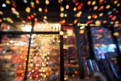 Gift shop Store with colorful light bokeh Stock Photography