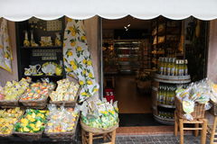 Gift Shop, typical for the town of Limone lemons. Italy Royalty Free Stock Photography