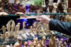 Gift shop with wooden figurines Royalty Free Stock Photos