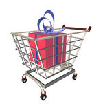 Gift in a shopping cart Royalty Free Stock Image