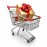 Gift in shopping cart Stock Photography