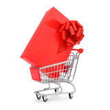 Gift in a shopping cart Stock Image
