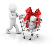 Gift in shopping cart Stock Photo