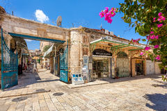 Gift shops on bazaar in Old City of Jerusalem. Stock Photo