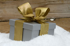 Gift in silber with bow in snow close-up Stock Photography