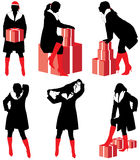 Gift silhouettes girl Royalty Free Stock Photo