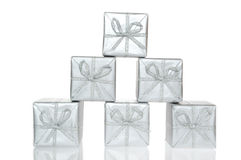 Gift silver box Stock Images