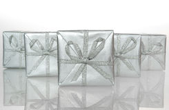 Gift silver box. Silver boxes Royalty Free Stock Photo