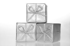 Gift silver box Royalty Free Stock Photo
