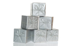 Gift silver box (clipping path). Silver gift boxes Stock Photos