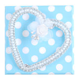 Gift with silver heart Royalty Free Stock Images