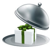 Gift on a silver platter Royalty Free Stock Photos