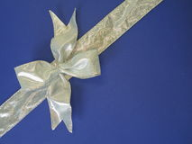 Gift with silver ribbon Stock Photos