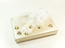 Gift with silver stars Royalty Free Stock Photos