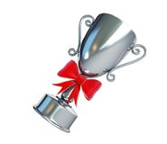 Gift silver trophy cup on a white background Royalty Free Stock Photo
