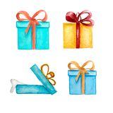Gift sketches boxes. Watercolor hand drawing illustration royalty free illustration