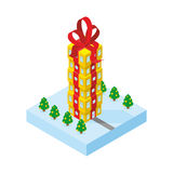 Gift of skyscraper. Tall office building from  gift box Royalty Free Stock Photos