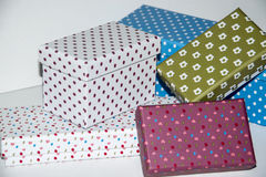 Gift. Small colorfull Boxes for greetings Stock Photos
