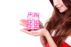 Gift and smiling christmas woman Stock Image
