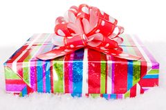 Gift and snow Stock Photo