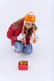 Gift in snow Stock Photography