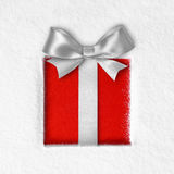 Gift on snow background Royalty Free Stock Photos