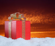 Gift on snow Stock Image