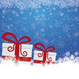 Gift snow stars blue white background Stock Photography