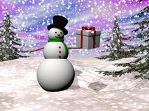 Gift from snowman - 3D render Royalty Free Stock Image